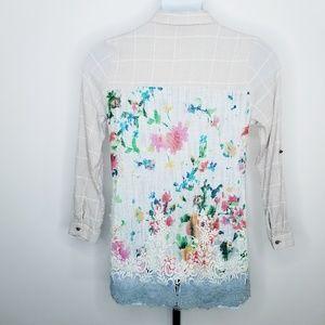 Soft Surroundings Gauzy Floral Back Button Tunic